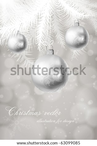 winter background with Christmas decoration, fur tree and silver balls for xmas design. eps 10 - stock vector