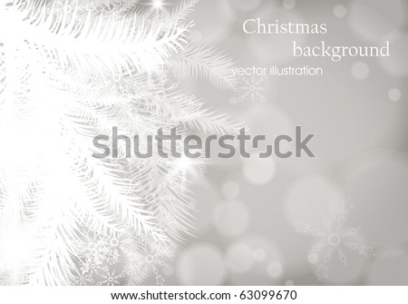 winter background with Christmas decoration, fur tree and silver for xmas design. eps 10 - stock vector