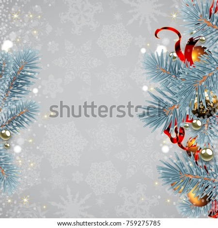 Winter background with Christmas tree branches and decorations. Highly realistic illustration.