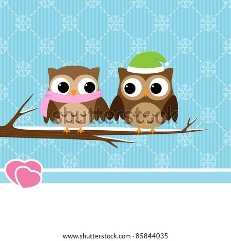 Winter background with couple of owls sitting on branch - stock vector