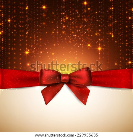 Winter background with crystallic snowflakes with red gift bow. Christmas decoration. Vector.  - stock vector