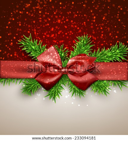 Winter background with crystallic snowflakes with red gift bow. Christmas fir tree decoration. Vector.  - stock vector