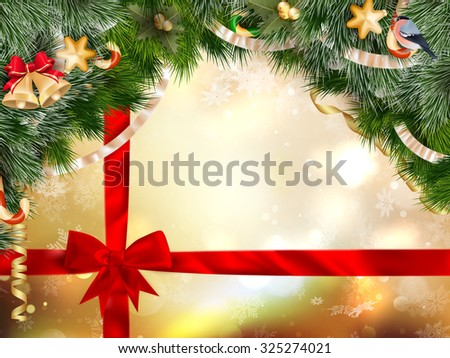 Winter background with crystallic snowflakes with red gift bow. Christmas fir tree decoration. EPS 10 vector file included - stock vector