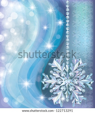 Winter background with diamond snow, vector illustration - stock vector