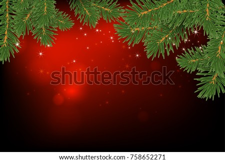 Winter background with fir branches. Highly realistic illustration.