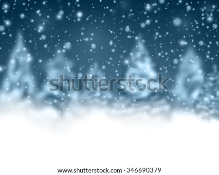 Winter background with fir-trees. Vector paper illustration. - stock vector