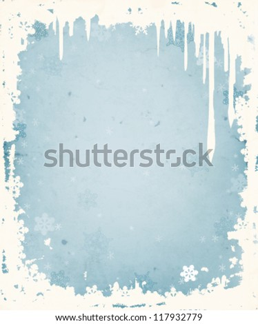Winter background with frame of icicles and snowflakes - stock vector