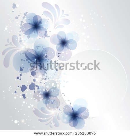Winter Background with frozen flower. Christmas card with place for text.  Vector Illustration .