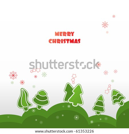 Winter background with green firs - stock vector