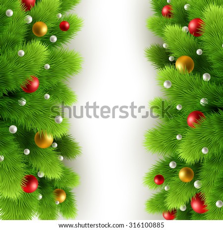 Winter background with isolated pine branch and baubles. Christmas  tree decoration. Vector illustration - stock vector