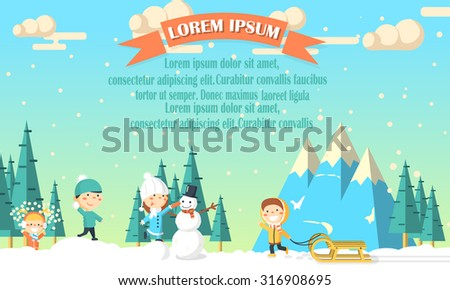 Winter background with kids and nature made in flat style. - stock vector