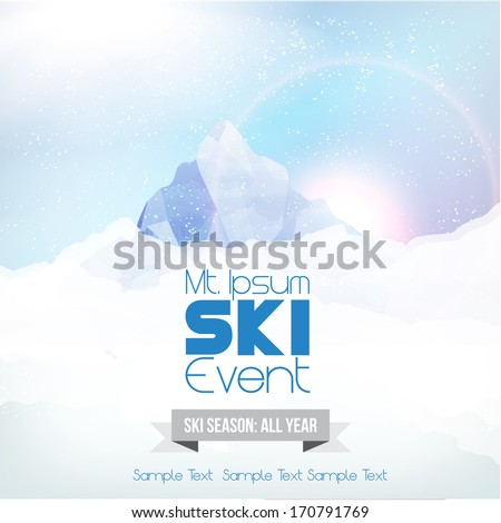 Winter Background with Mountains and Snow - Vector Illustration - stock vector