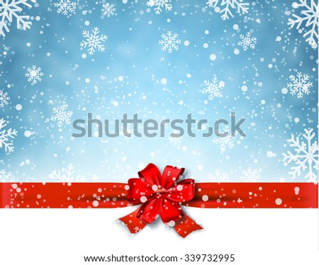 Winter background with red bow. Vector Illustration - stock vector