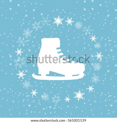 Winter background with skates. Vector illustration