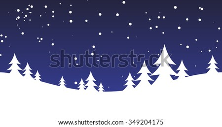 Winter background with snow and hills. Vector illustration - stock vector