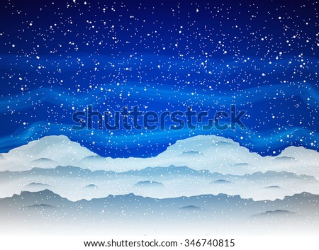 Winter background with Snowfall and drifts on dark blue sky with fog. Vector illustration, template for greetings christmas new year card