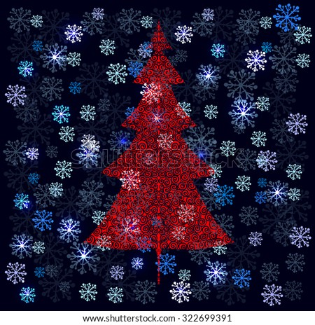 Winter background with snowflakes and red doodle spruce tree. Vector illustration. - stock vector