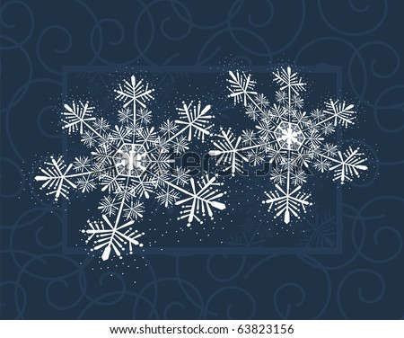 winter background with snowflakes, individual objects very easy to edit in vector format - stock vector