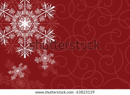 winter background with snowflakes on curl shapes background, individual objects very easy to edit in vector format - stock vector