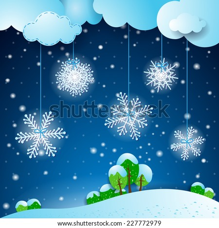 Winter background with snowflakes, vector eps 10 - stock vector