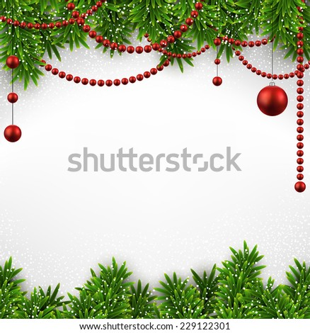 Winter background with spruce twigs and red baubles. Christmas vector frame. Eps10.  - stock vector