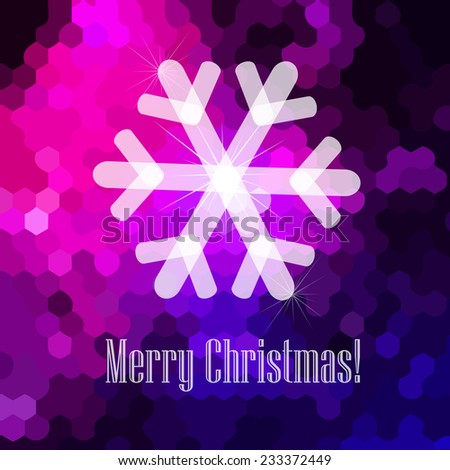 winter background with text. Merry Christmas. Greeting Card. Vector - stock vector