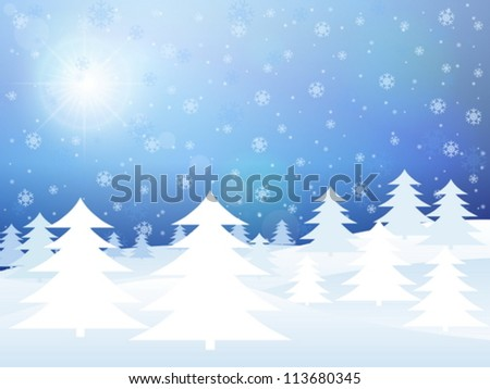Winter background with trees and snowflakes. Vector illustration.