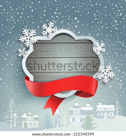 Winter background with vintage frame and ribbon , against the snow-covered village, vector. - stock vector