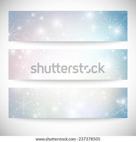 Winter backgrounds set with snowflakes. Abstract winter design pattern, vector.