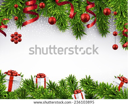Winter banner  with spruce twigs and red baubles. Christmas vector illustration. Eps10.  - stock vector