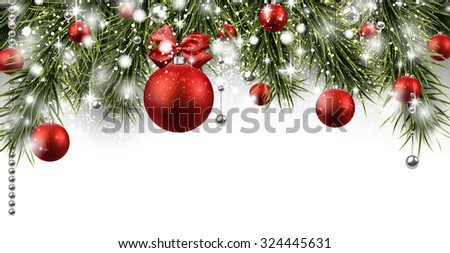Winter banner with spruce twigs and red baubles. Christmas vector illustration with place for text.  - stock vector