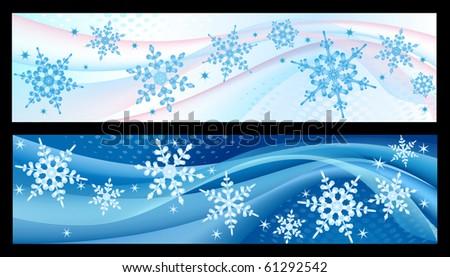 Winter banners - stock vector