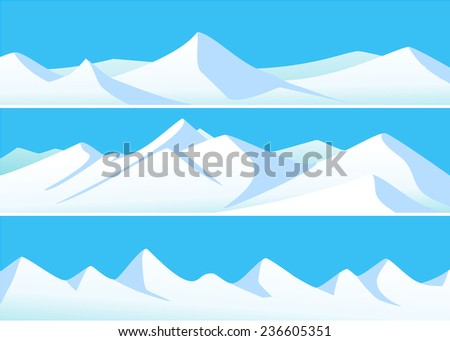 Winter banners with high mountains  - stock vector