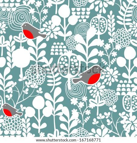 Winter birds and frozen flowers seamless pattern. Vector texture. - stock vector