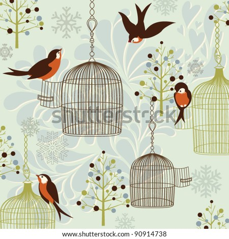 Winter Birds, Birdcages, Christmas trees and vintage background - stock vector