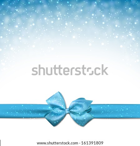 Winter blue background with crystallic snowflakes with ribbon and gift bow. Christmas decoration. Vector.   - stock vector