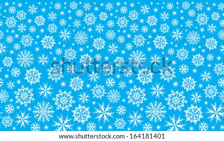 winter blue background with snowflakes - stock vector