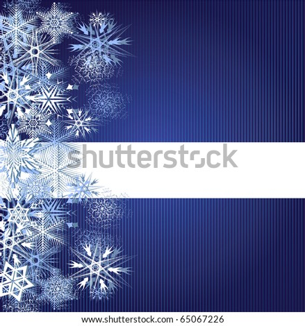 Winter blue background with snowflakes. Vector illustration - stock vector