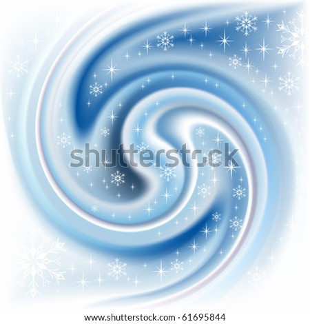 Winter blue background with white snowflakes - stock vector