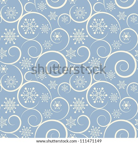 Winter blue seamless background with snowflakes