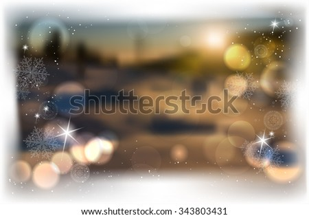 Winter blurred background with bokeh, shines and snowflakes for Merry Christmas and Happy New Year greeting card - vector illustration - stock vector