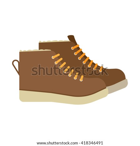 winter boots flat icon. vector illustration. Flat icon isolated on a white background - stock vector