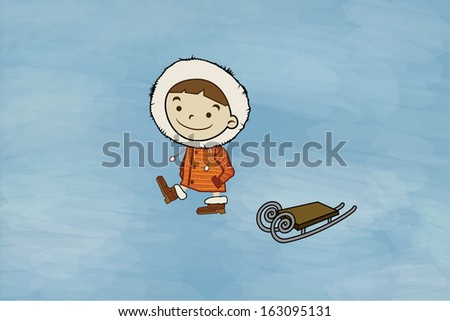 Winter boy, sled. Funny cartoon character and vector illustration - stock vector