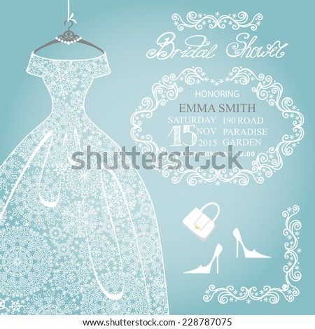 Winter Bridal shower invitation.Openwork female's wedding  dress,high-heeled shoes,swirling borders.Lace from a snowflake.Fashion vector Illustration - stock vector