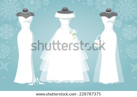 Winter Bridal shower .Three wedding dresses with long skirt wear for mannequin.Falling Snowflake background.Winter Fashion vector Illustration - stock vector
