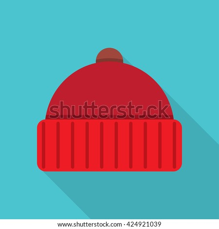 Winter cap icon flat icon. vector illustration. Flat icon isolated with long shadow. - stock vector