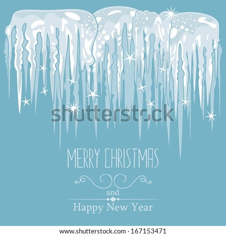 Winter card, seasonal blue background with icicles - stock vector