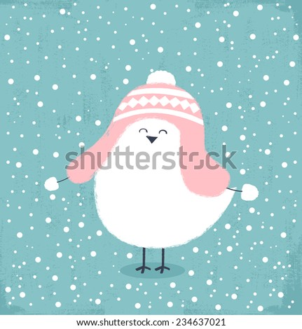 Winter card with bird wearing a winter hat