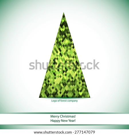winter card with christmas tree or logo for your forest company name. Your can use in eco design  - stock vector