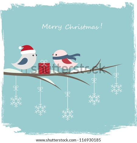 Winter card with cute birds and gift box - stock vector